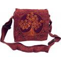 GURU SHOP Ethno Schultertasche Nepaltsche Stonewash `Tree of Life` - Rostrot Herren Damen Baumwolle SizeOne Size 20x20x7 cm Alternative Umhängetasche Handtasche aus Stoff Schuhe & Handtaschen