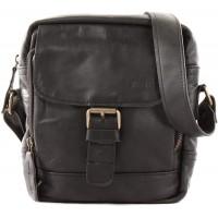 LECONI kleine Umhängetasche Schultertasche für Damen und Herren Freizeittasche Herrentasche praktische Echtledertasche im Vintage-Look Leder 21x24x6cm schwarz LE3042-wax Schuhe & Handtaschen