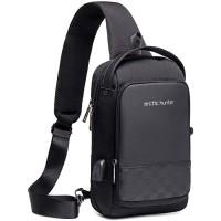 Schultertasche Herren Taschen Brusttasche Sling Bag Crossbody Rucksack mit USB Ladeanschluss mit verstellbarem Schultergurt Perfekt für Outdoorsport Schule Reisen Schuhe & Handtaschen