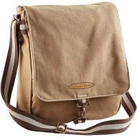Umhängetasche Herren Retro Style Vintage Canvas Messenger Schultertasche mit Goodman Design ® Logo Farbe Sand Schuhe & Handtaschen