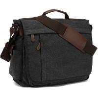 Umhängetaschen Herren aus Canvas Schultasche Queformat A4 Laptoptasche für 15 6 Zoll Laptop Arbeitstasche Aktentasche groß Schwarz Schuhe & Handtaschen