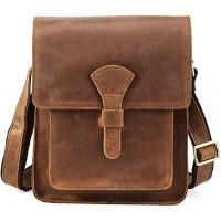 Vints Umhängetasche Herren Ledertasche Vollnarbenleder Schultertasche Handtasche Handgefertigt Für 10-Zoll-Tabletten Arbeitendes Vintage Slim Brown Schuhe & Handtaschen